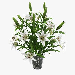 lily flower bouquet 3d model