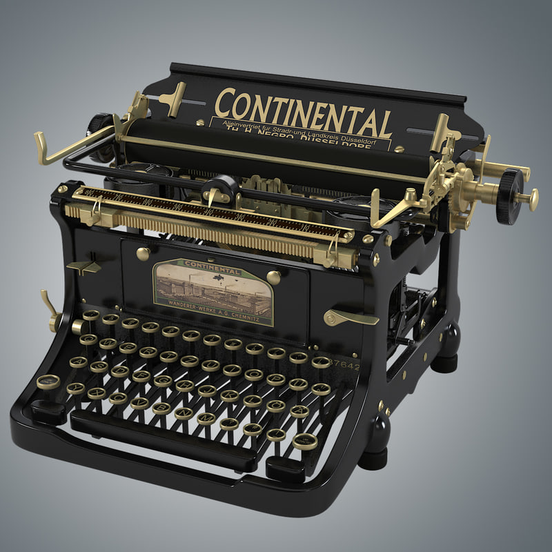 continental vintage typewriter 3d model. Black Bedroom Furniture Sets. Home Design Ideas
