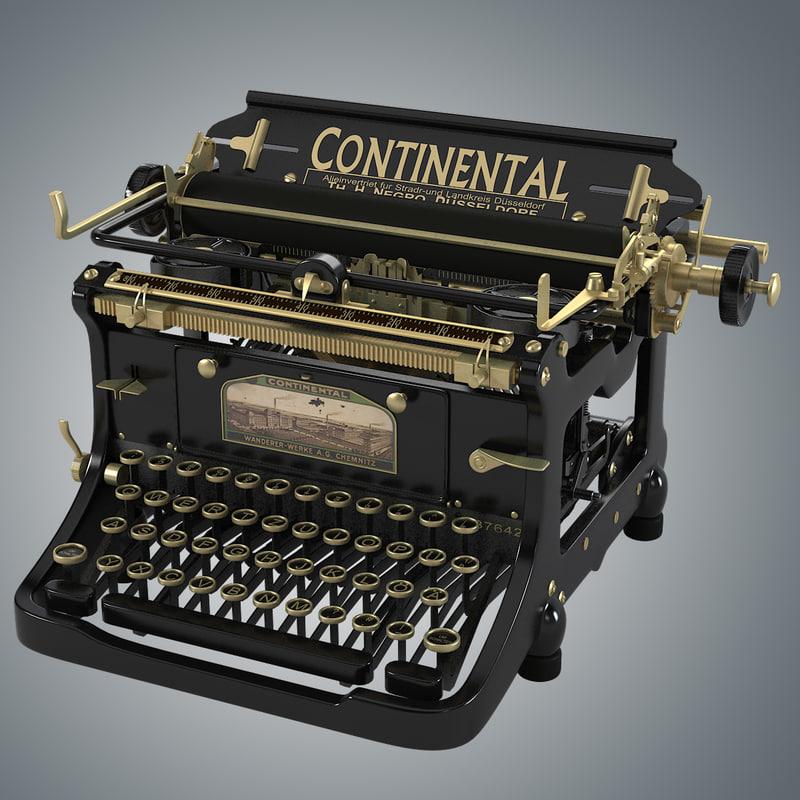 continental vintage typewriter 3d model. Black Bedroom Furniture Sets. Home Design Ideas