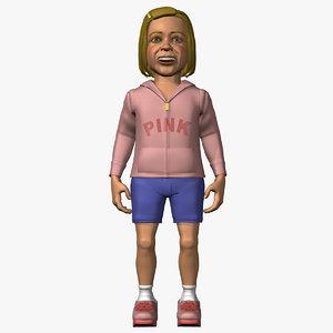 3d girl child kid