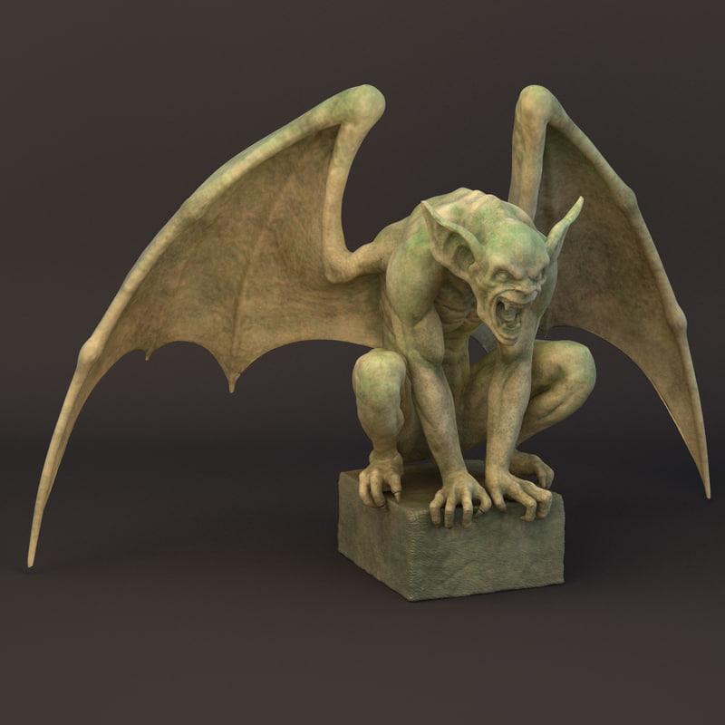 gargoyle sculpture 3d obj