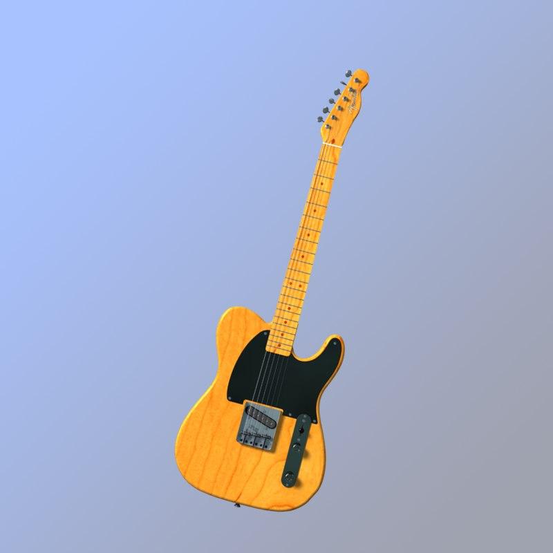 3d model bruce fender esquire electric guitar