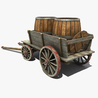 max old wooden cart barrel