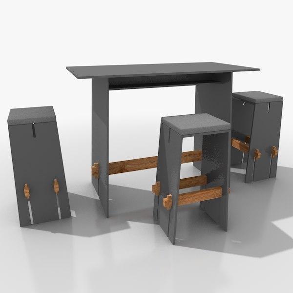 3d model straight-lined bar furniture set