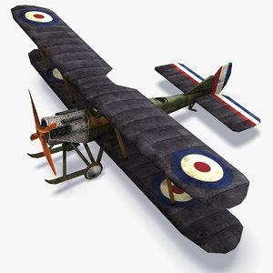 royal aircraft b e 3d model