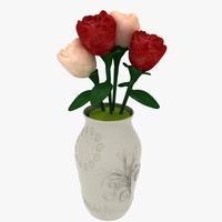 artificial roses vase flowers 3d max