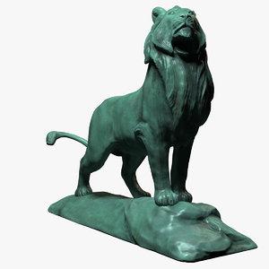 3d obj bronze lion sculpture