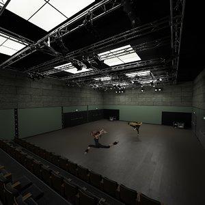 3d obj dance hall interior