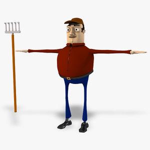3d cartoon farmer model