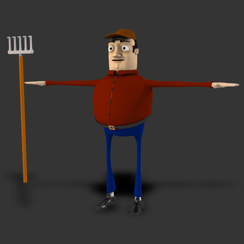 3d cartoon farmer model