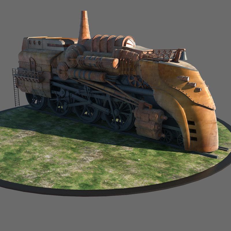 3dsmax huge steam locomotive