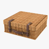 3d wicker suitcase model