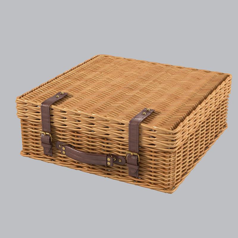 3d wicker suitcase model