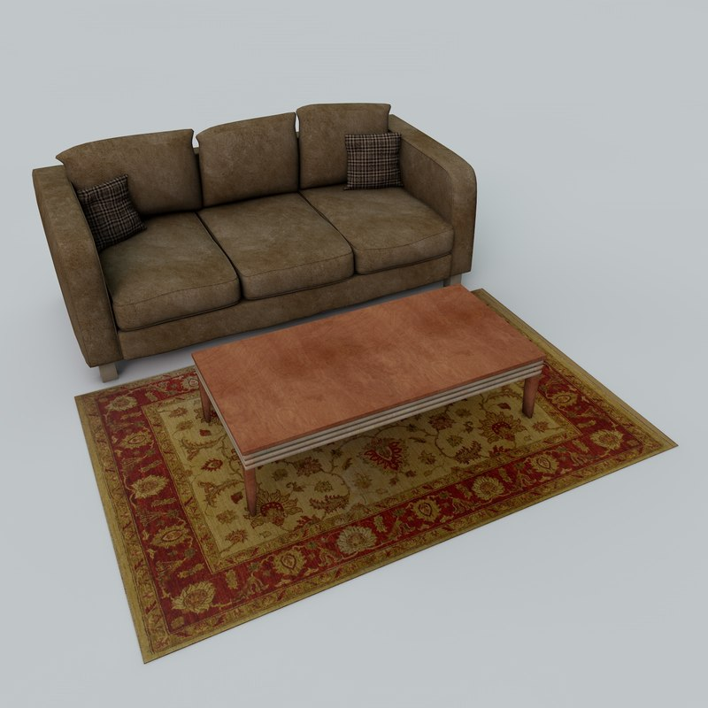 3d model couch coffee table
