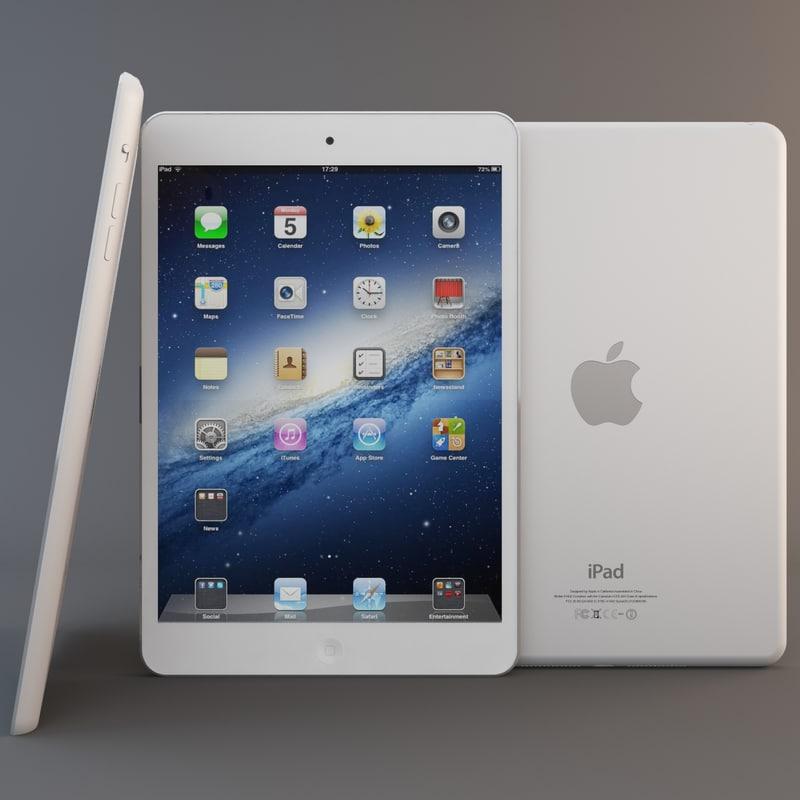 white ipad mini 3d model