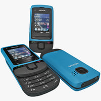 nokia c2 05 blue 3d model