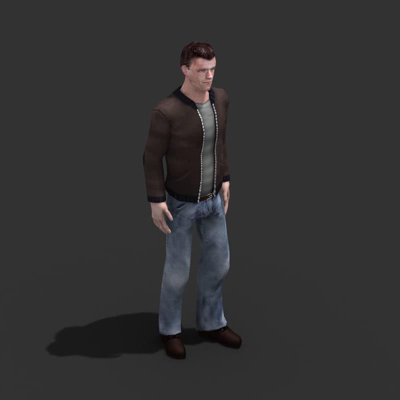 male civilian rigged 3d model