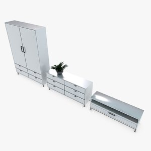3d model wardrobe dresser designed