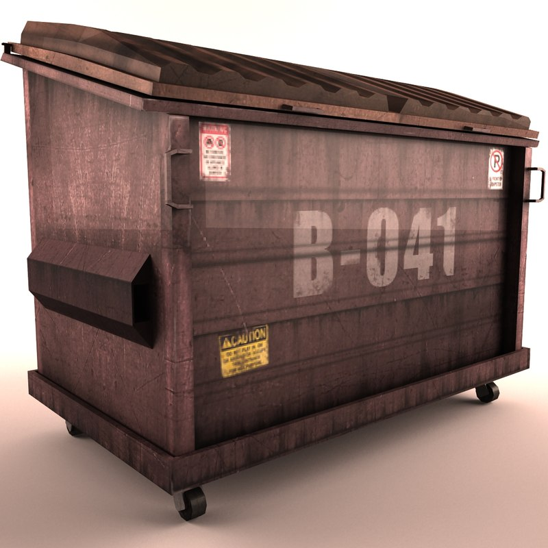 3d model old red street dumpster