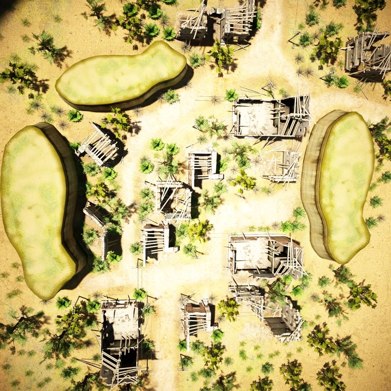 3d model destroyed village environment building
