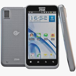 3d model black zte n880e cell phone