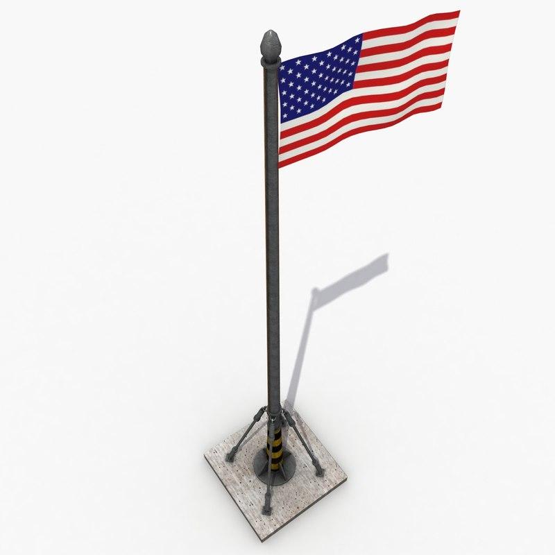 3d model modeled flag