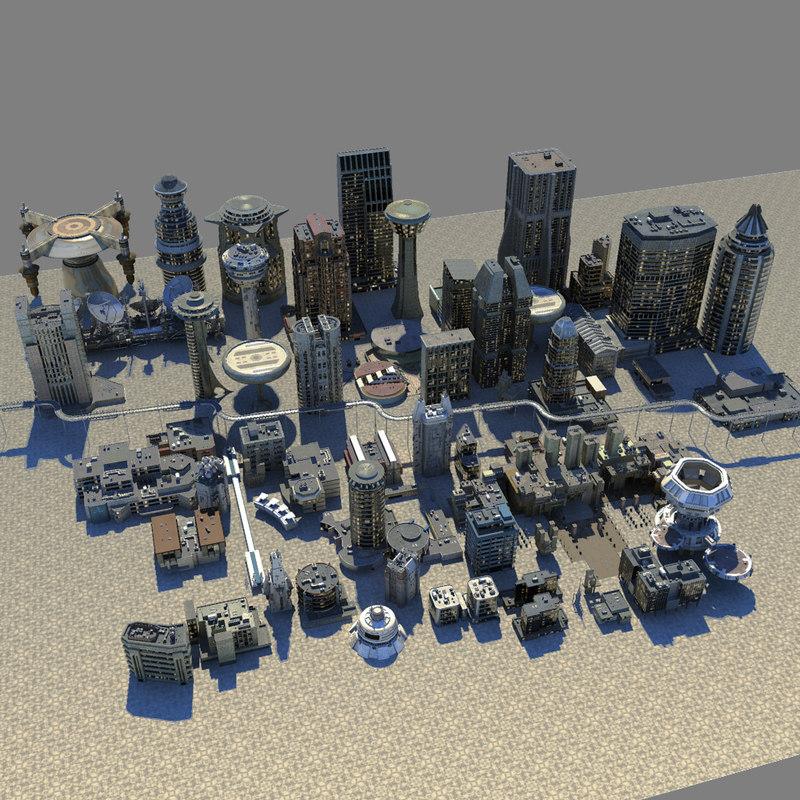3d model res scifi city buildings