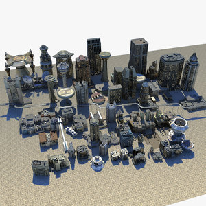 3d model res scifi city buildings