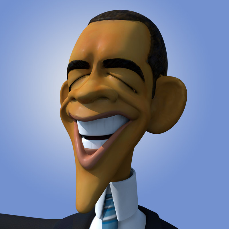 cartoon caricature barack obama 3d obj