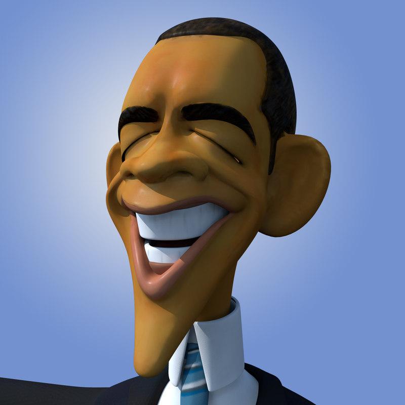 cartoon caricature barack obama 3d obj