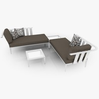 casual chaiselongue set lounge furniture c4d