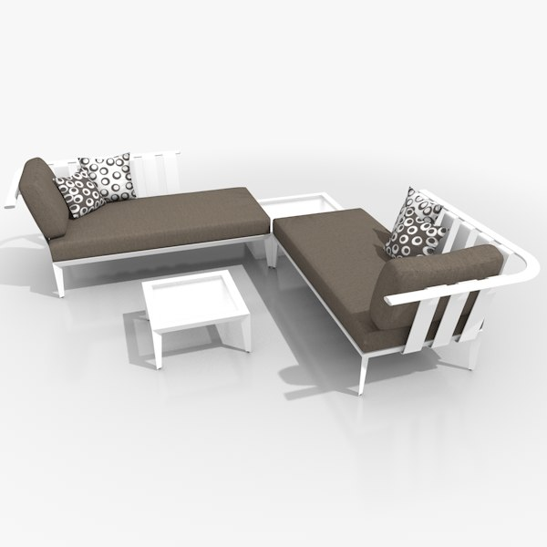 casual chaiselongue set lounge furniture c4d