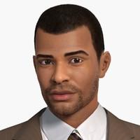 3d afro-american man character wayne