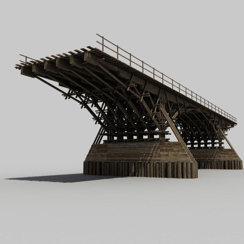 wooden bridge 3d obj