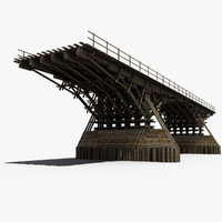 wooden bridge 3d obj