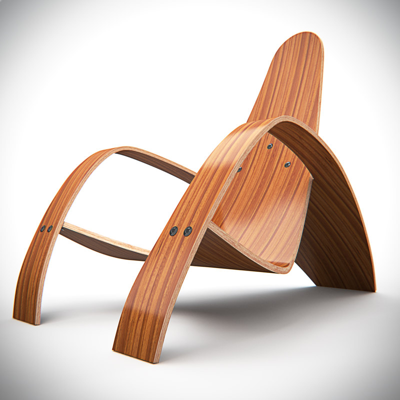 bent lounge chair 3d obj