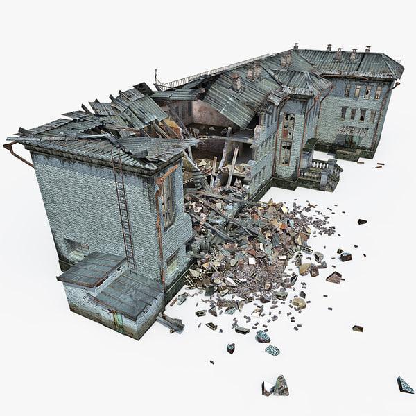 3d destroyed house 10 model