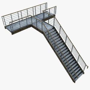metal staircase 3d max