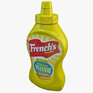 3d french s mustard bottle model