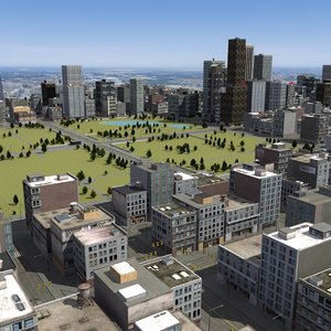 urban city rt 3d max
