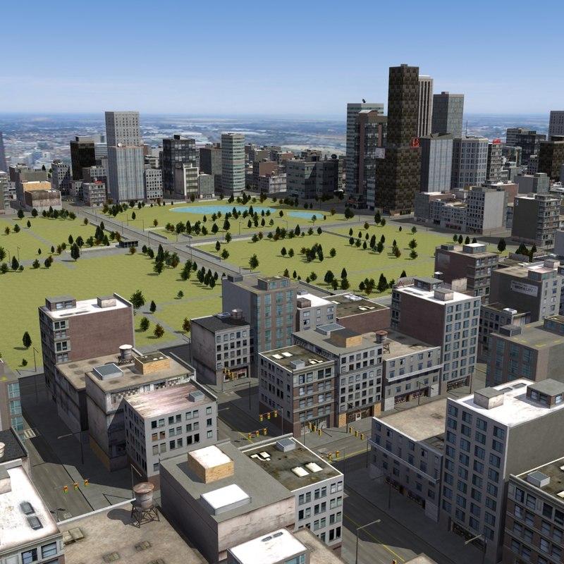 urban city rt 3d max