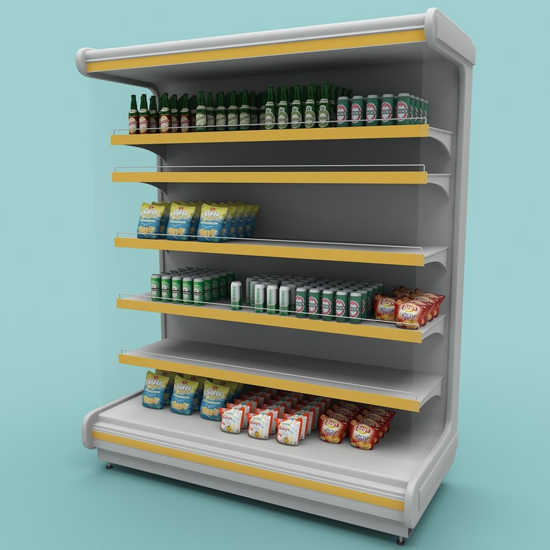 3d model supermarket shelf 1
