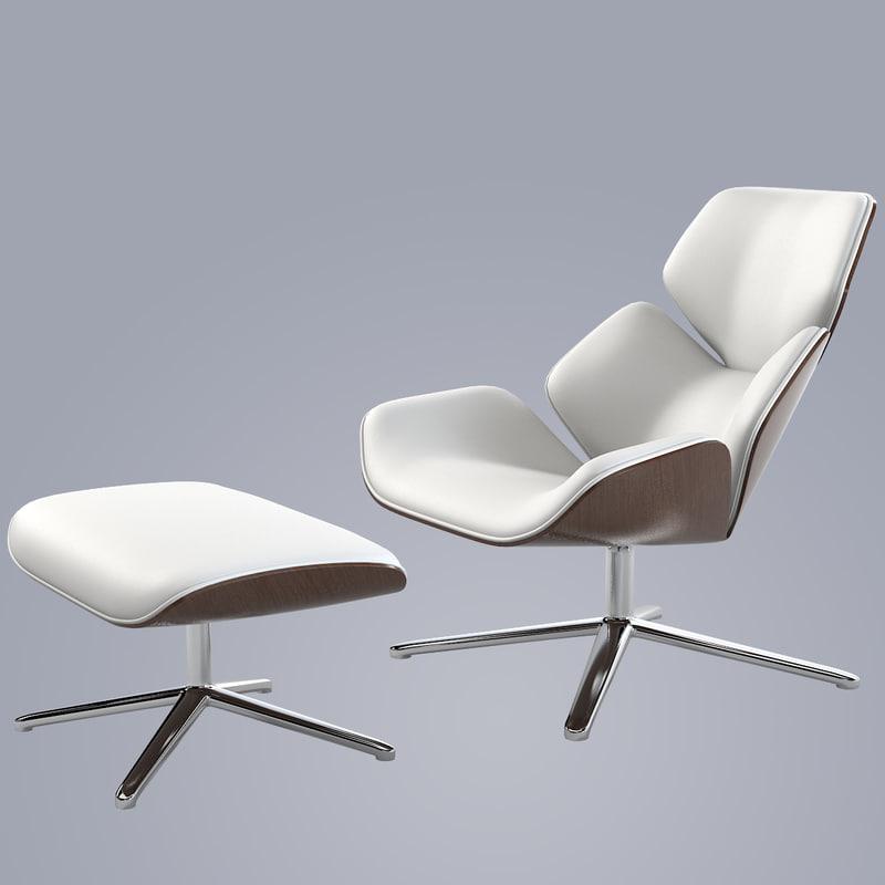 3d model cor shrimp lounge chair