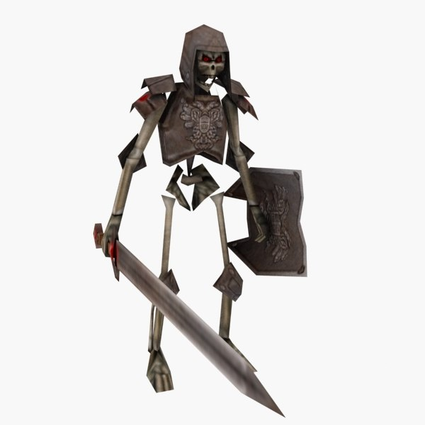 max rigged skeleton warrior