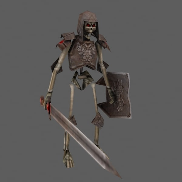 max rigged skeleton warrior