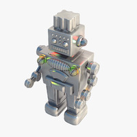 3d model robot metallic