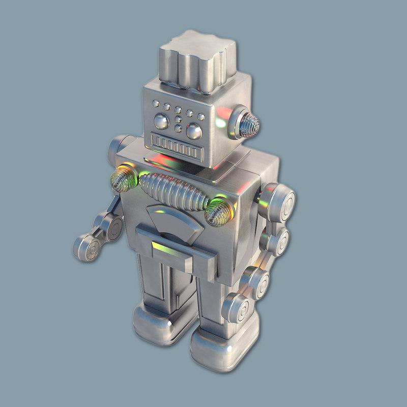 3d model robot metallic