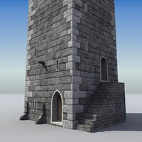 3d model of medieval castle tower