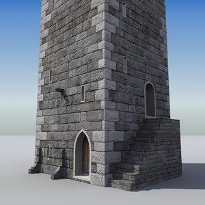 3d model of medieval castle tower