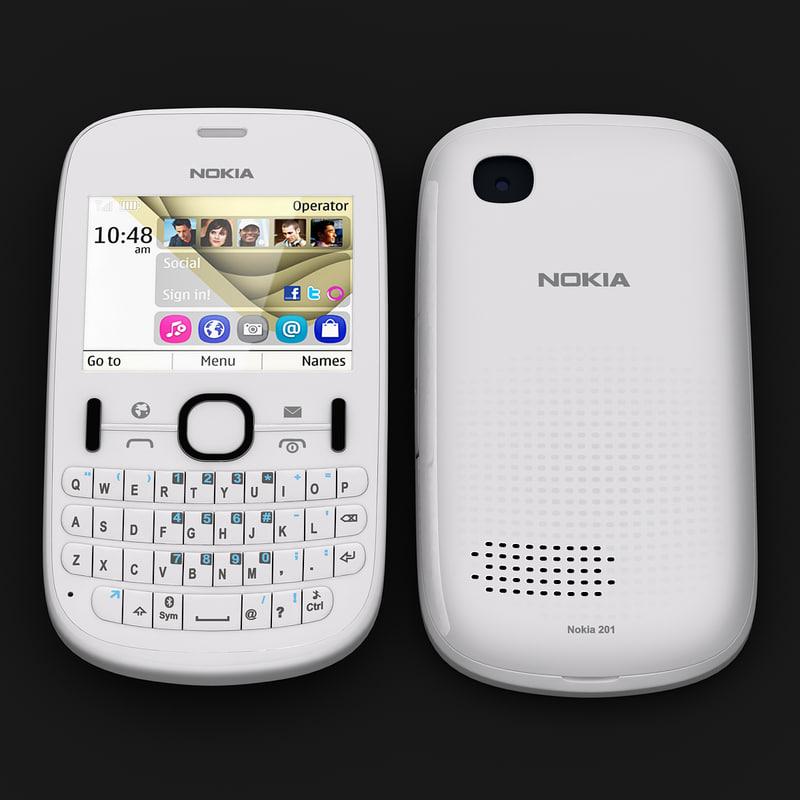 nokia asha 201 white 3d model